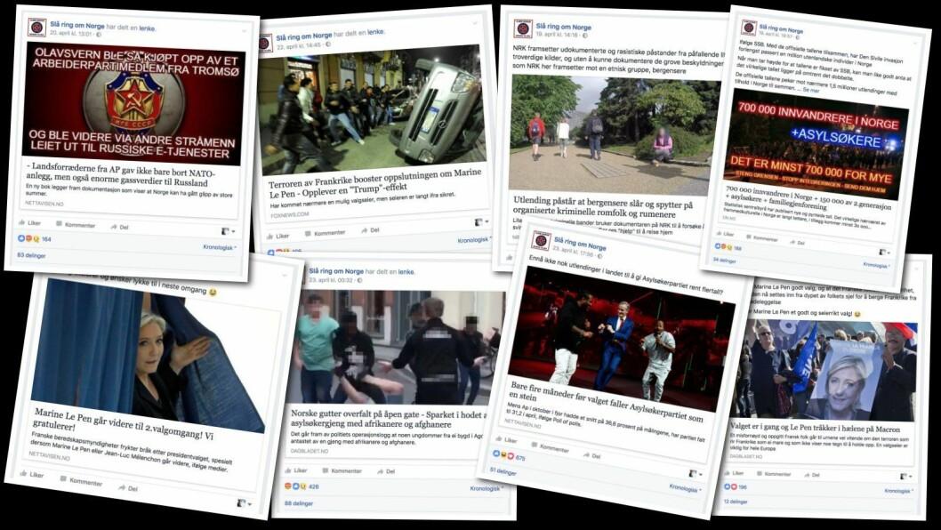 Dette er et lite utvalg av lenkene på siden «Slå ring om Norge», med forfalskede lenker fra både Nettavisen, NRK, Dagbladet og Dagens Næringsliv.