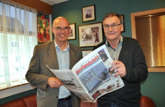 Sunnmørsposten direktør Lidvar Flydal (t.v.) og Fred Frantzen i Vestlandsnytt. Det regionale mediehuset kjøpte lokalavisa tidligere i år, som det foreløpig siste i en lang rekke av oppkjøp under Flydals ledelse de siste tiåra.