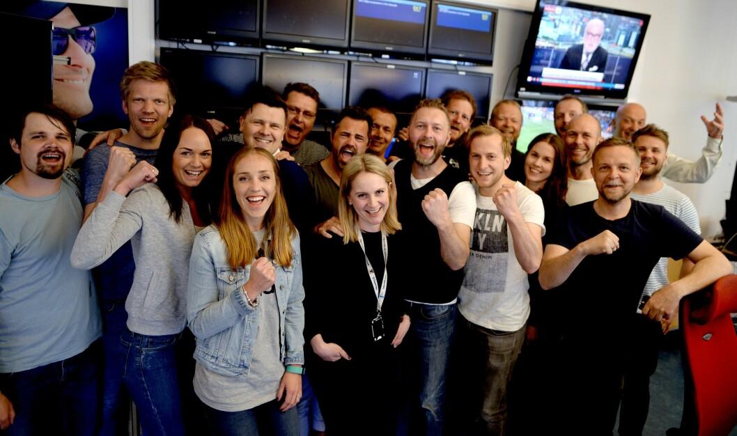 TV 2s sportsredaksjon på Nøstet i Bergen jublet for mesterligafotball tirsdag.