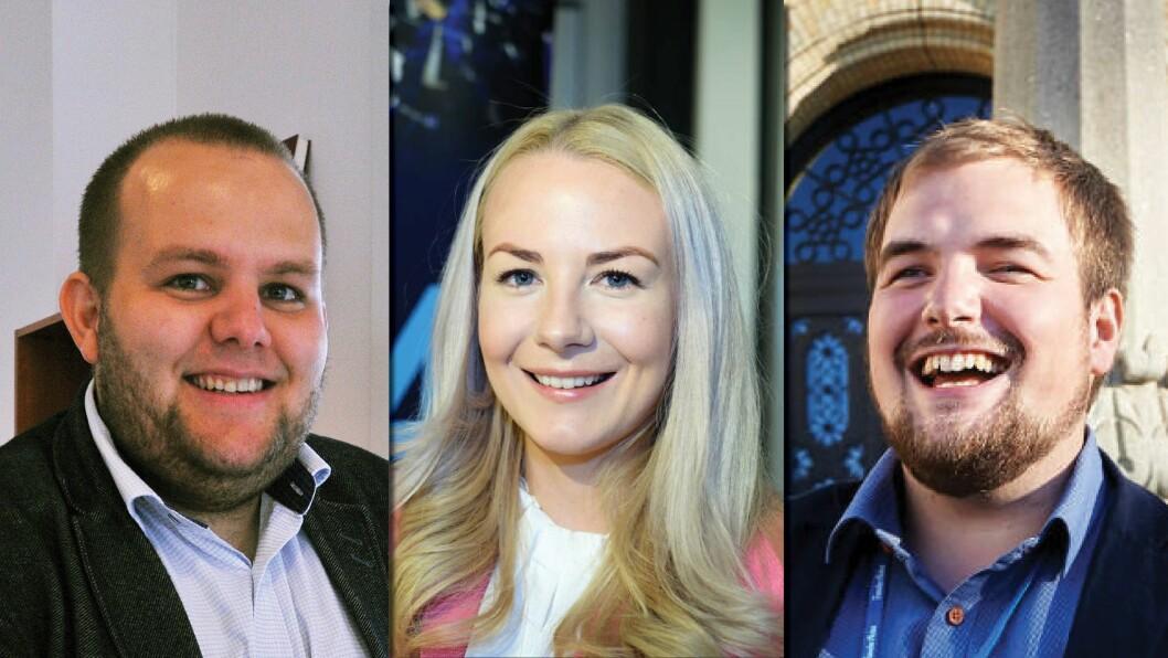 Medier24, fra venstre: Redaktør og daglig leder Gard L. Michalsen, kommersiell leder Julie Hansson og journalist / vaktsjef Erik Waatland.