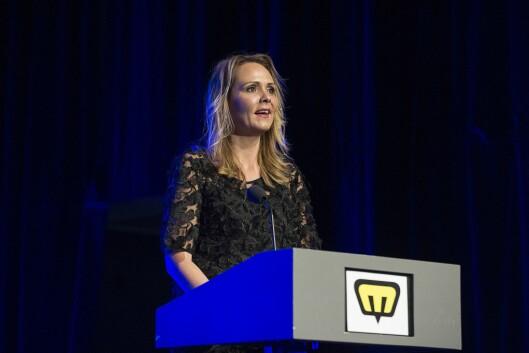 Kulturminister Linda Hofstad Helleland på Nordiske Mediedager i mai 2016.