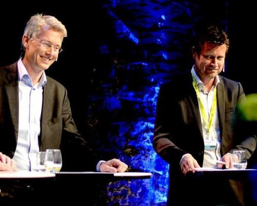 Trygve Rønningen (t.h.) blir snart kollega med Olav Sandnes i TV 2. Her fra Nordiske Mediedager for noen år siden.