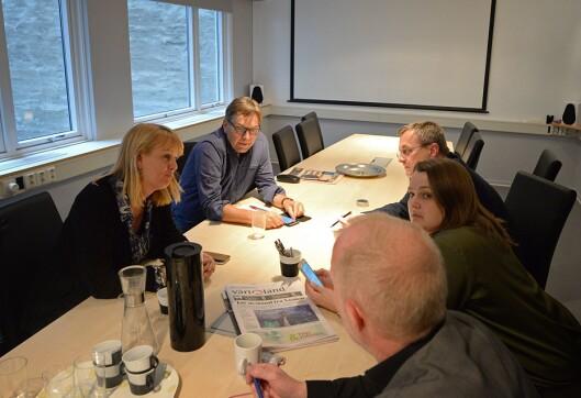 Administrerende direktør Randi S. Øgrey i MBL, rådgiver Trond Idås i NJ, adm. dir Per Brikt Olsen i Fagpressen, leder Hege Iren Frantzen i Norsk Journalistlag og leder Arne Jensen i Norsk Redaktørforening.