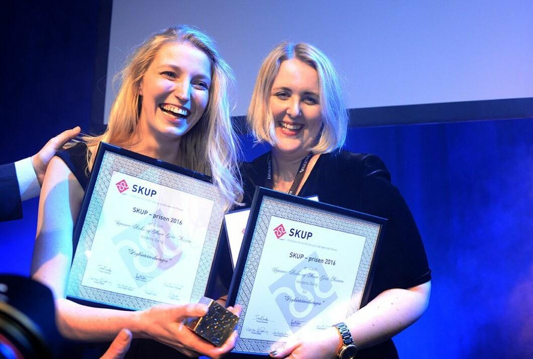 Journalistene Synnøve Åsebø og Mona Grivi Norman fra VG står bak «Tvangsloggene». Her fra SKUP-prisen tidligere i vår.