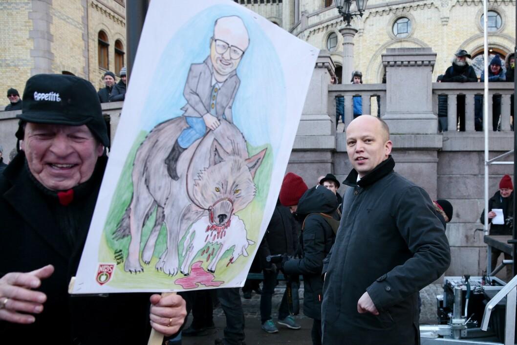 Senterparti-leder Trygve Slagsvold Vedum under protestaksjonen mot regjeringen.