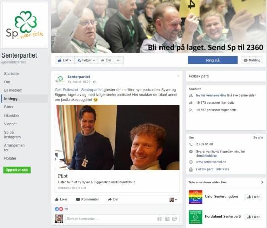 Senterpartiets Facebook-page.
