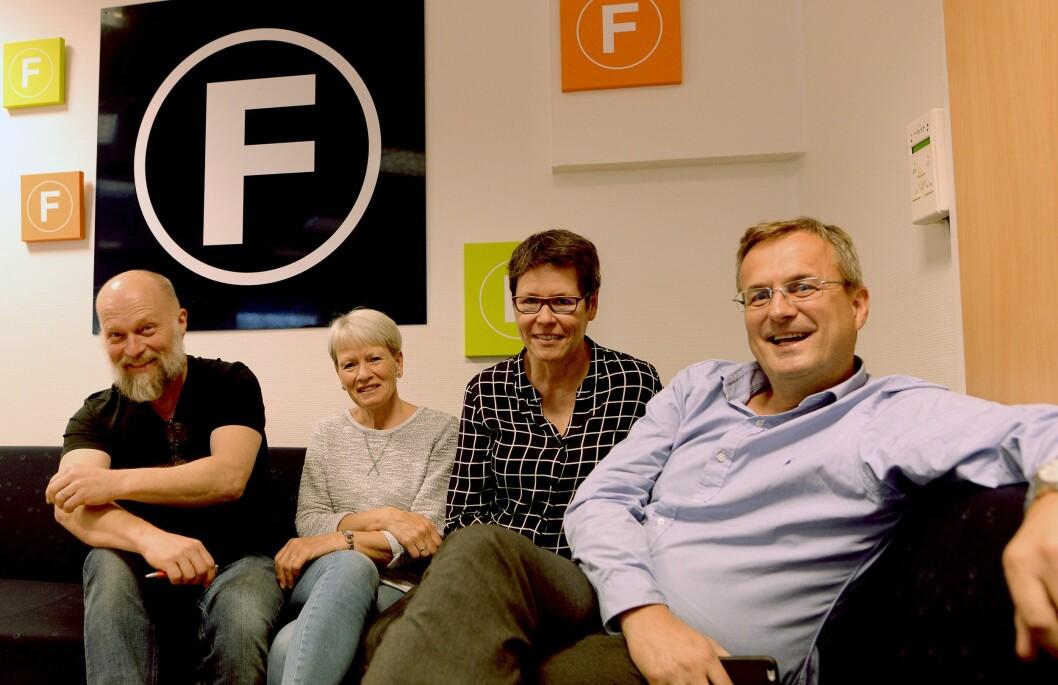 Administrasjonen i Fagpressen, fra venstre: Kjartan Tyvand, Elisabeth Berg Pronkow, Berit Nyman og Per Brikt Olsen.