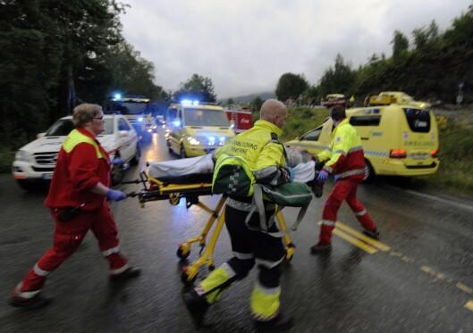 Utrykningsetatene i arbeid ved Utøya 22. juli.