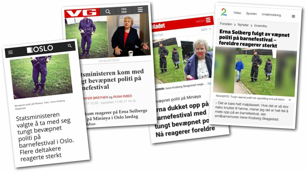 VårtOslo, VG, Dagbladet og TV 2 om helgas politivakter og «mange reaksjoner».