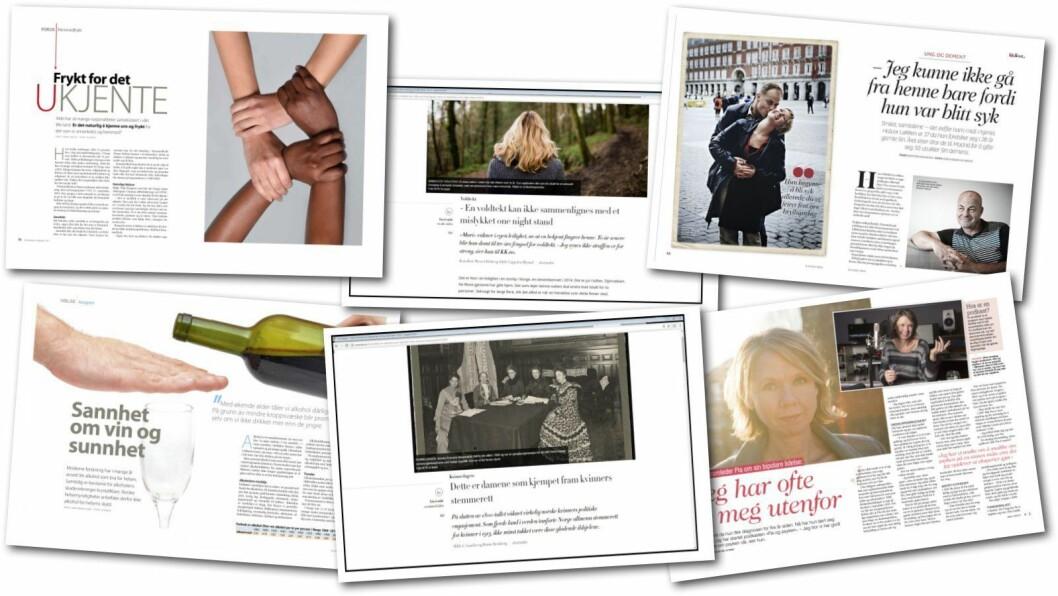 Noen av de mange ukeblad og magasinsakene som er publisert det siste året.