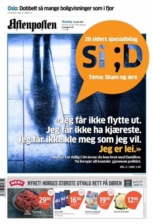 Forsiden til Aftenpostens bilag mandag 12. juni.