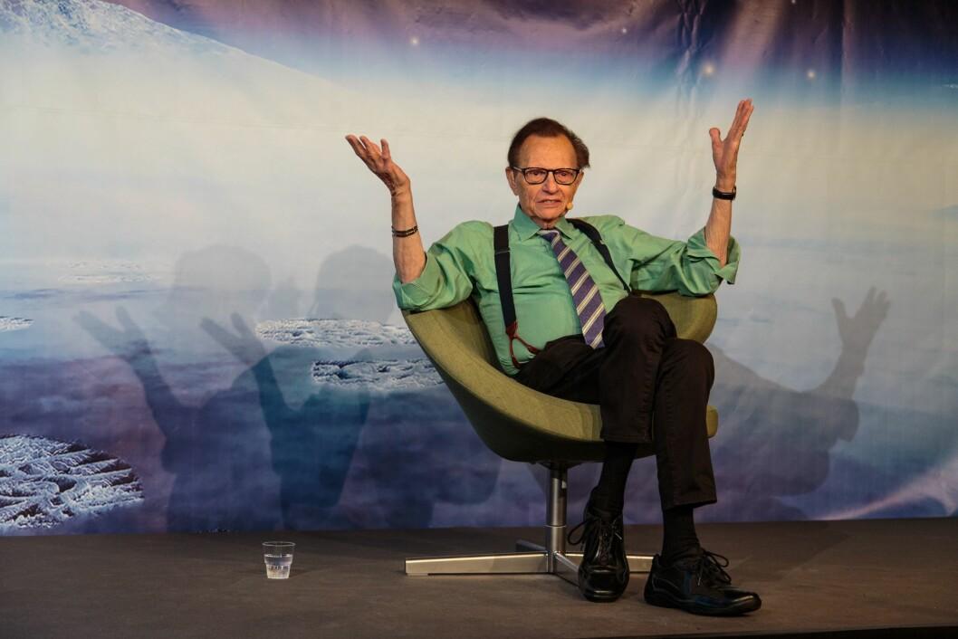 Larry King under pressekonferansen på Starmus i Trondheim.