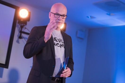 Kringkastingssjef Thor Gjermund Eriksen under NRKs presentasjon av smakebiter fra høstens TV-programmer.