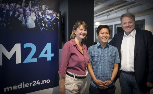 Styret i Medier24 AS, her sommeren 2017. Fra venstre: Nina Refseth, Chul Christian Aamodt og Jan M. Moberg.