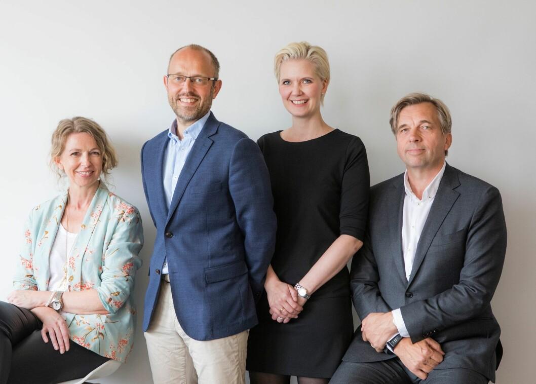 Påtroppende sjefredaktør i NTB, Mads Yngve Storvik, har styrket laget med tre nye ledere til NTBs ledergruppe. Fra venstre: Christina Dorthellinger Nygaard, Mads Yngve Storvik, Tina Mari Flem og Geir Terje Ruud.