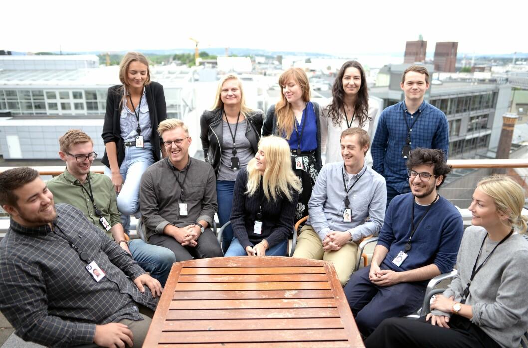 Dei heldige som fekk jobb: Aftenpostens sommervikarar på taket i Akersgata 55.