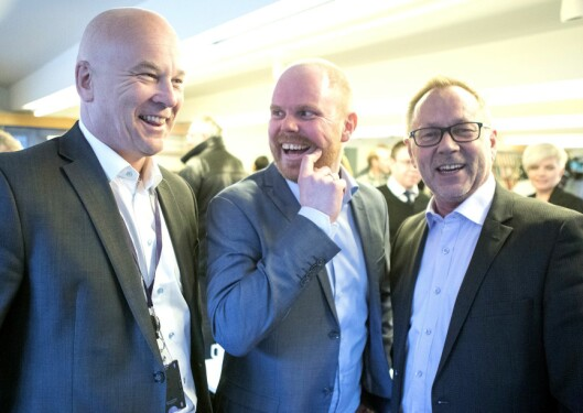 Fra venstre: Kringkastingssjef Thor Gjermund Eriksen, VG-sjef Gard Steiro og Dagbladets sjefredaktør John Arne Markussen. Bildet er fra Faktisk-lanseringen våren 2017.