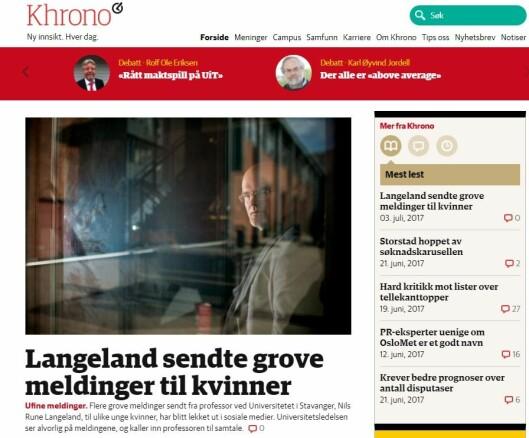 Nettavisen Khronos forside mandag viser artikkelen de publiserte om professor Langeland.