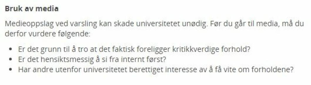 Faksimile fra Universitetet i Stavangers nettsider som nå er endret.