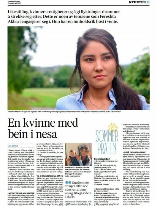 Faksimile fra Fædrelandsvennen.