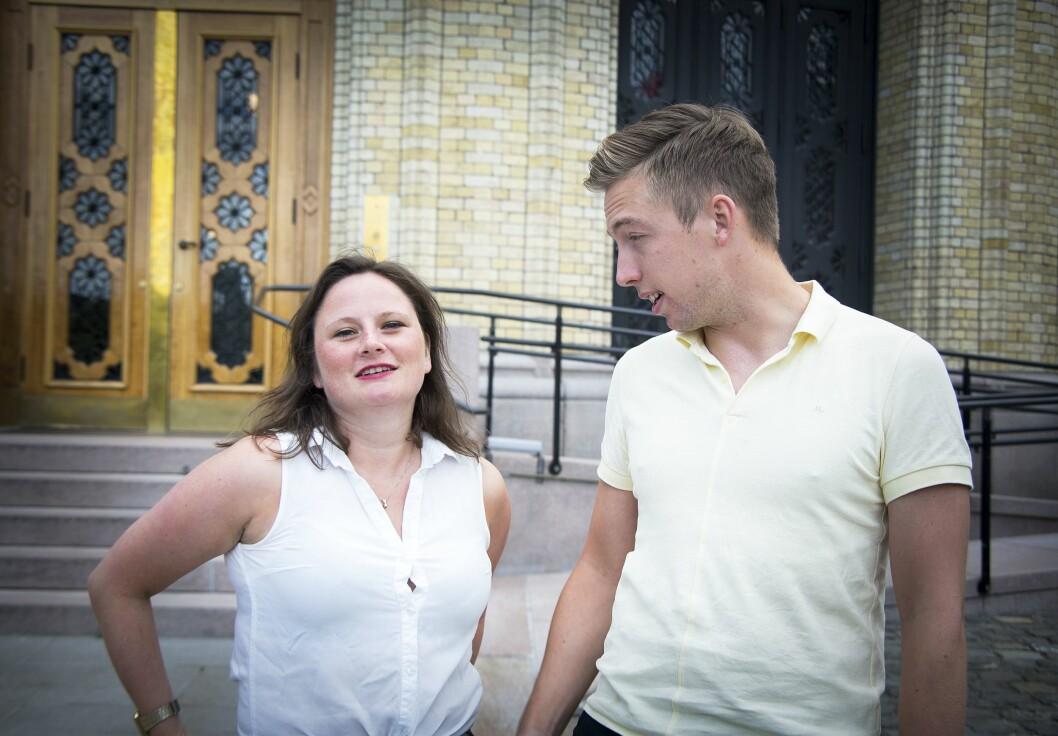 VGs politiske duo Marie Melgård og Lars Joakim Skarvøy poserer foran Stortinget til en sak Medier24 lagde ved en tidligere anledning. Begge hadde byline på Giske-saken i2017. Bilde