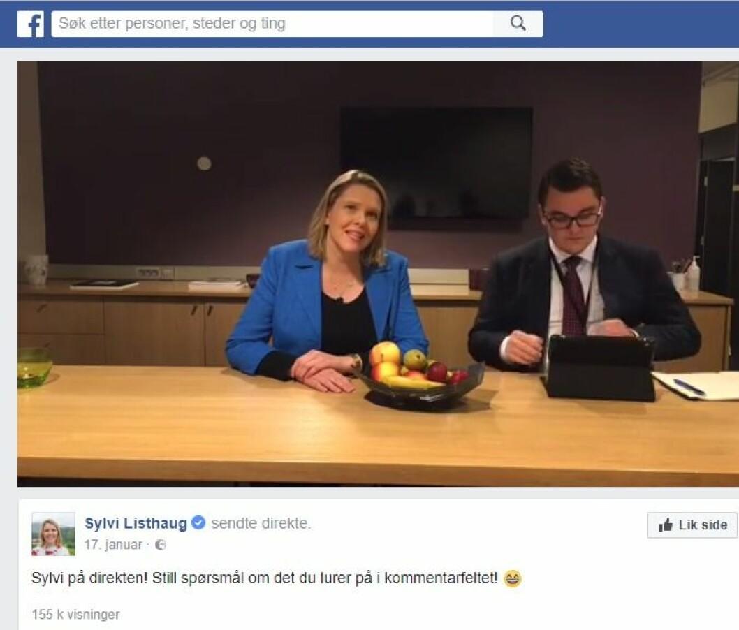 Innvandrings- og integreringsminister Sylvi Listhaug (FrP) med sin rådgiver Espen Teigen på en Facebook-direktesending i januar.