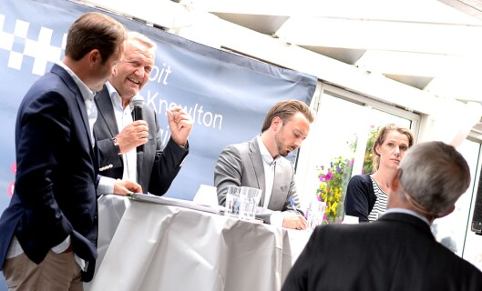 DEBATT 1: Gambits Europa-sjef Lars Erik Grønntun, førstelektor og retorikkekspert Kjell Terje Ringdal, politisk rådgiver Odd Hoen-Sevje (H) og Camilla Ryste, kommunikasjonssjef for Aps stortingsgruppe.