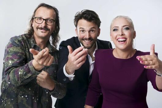 Stjernekamps programledere (f.v.) Thomas Felberg, Mona B. Riise og Kåre Magnus Bergh.