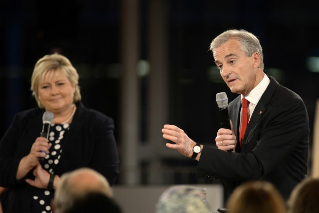 Statsminister Erna Solberg og Ap-leder Jonas Gahr Støre i duell fra Tromsø tirsdag.