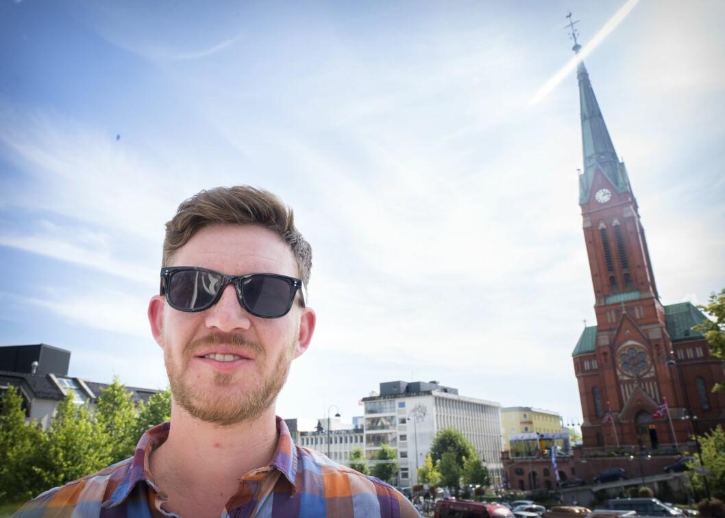 Politisk journalist Jens Kihl i Klassekampen. Her fra Arendal - da han var på jobb under lobbyarrangementet Arendalsuka..