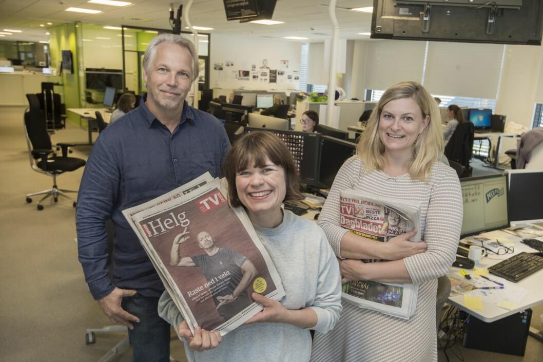 NY HELG, fra venstre: Kommersiell produktansvarlig Glenn Hagbru, kulturredaktør Sigrid Hvidsten og magasinredaktør Karine Østtveit.