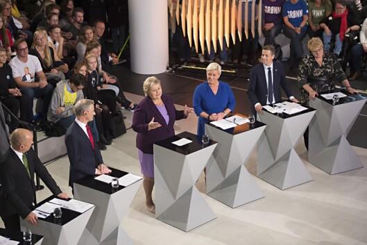 Senterpartiets leder Trygve Slagsvold (f.v.), Jonas Gahr Støre (Ap), Statsminister Erna Solberg (H), Siv Jensen (Frp), Knut Arild Hareide (KrF) og Venstre-leder Trine Skei Grande under fredagens partilederdebatt i Bergen.