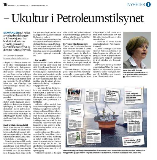 Faksimile fra Stavanger Aftenblad 11. september 2017..