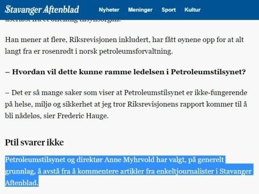 Fra Stavanger Aftenblads artikkel «Påstand om ukultur i Petroleumstilsynet granskes av Riksrevisjonen» 11/9-2017
