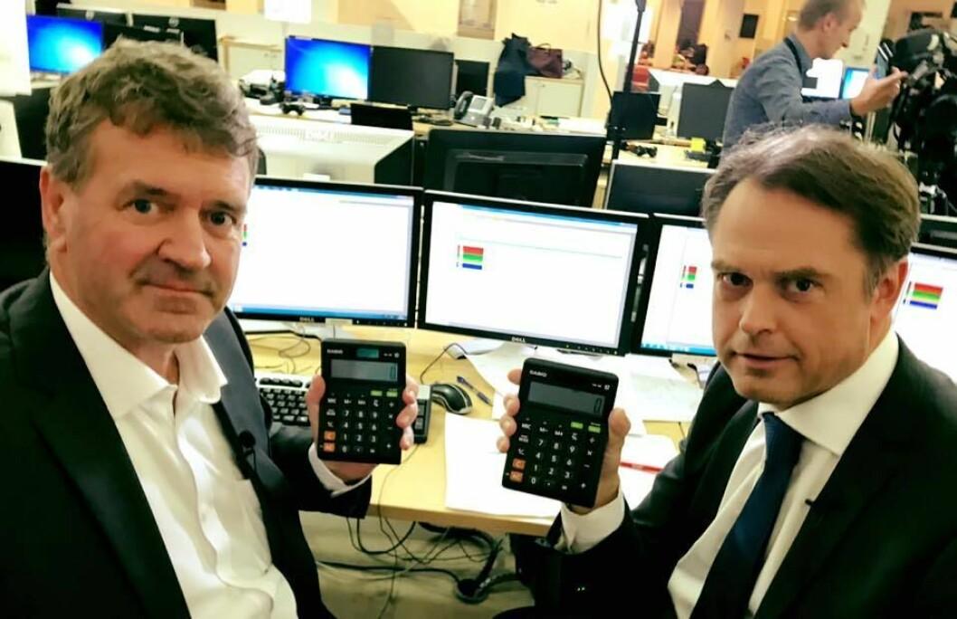 TALLKNUSERNE PÅ TV 2: Analytiker (og postmann) Terje Sørensen og journalist Kjetil Løset er kjent for å treffe presist. De fikk også god hjelp av landets mest treffsikre meningsmålingsinstitutt.