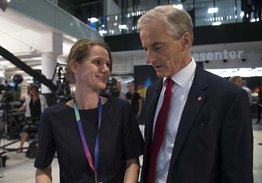 Camilla Ryste og  Jonas Gahr Støre før NRKs partilederdebatt i Bergen høsten 2017.
