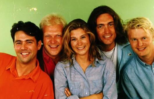 Den originale gjengen på Radio 1, fra venstre: Rune Dahl, Stein Johnsen, Jill Bottolfsen, Lars Eikanger og Bjørn Faarlund.