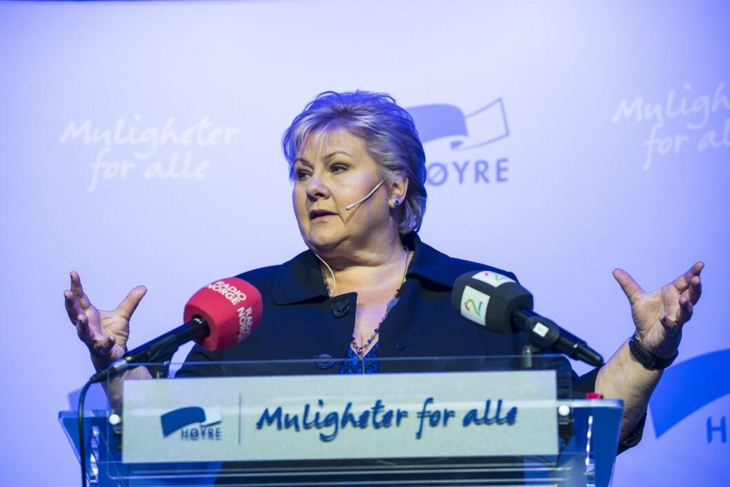 Statsminister Erna Solberg talte til sentrale høyre medlemmer i Oslo torsdag.