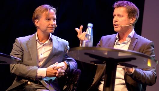 Kanaldirektør Trygve Rønningen i TV 2. Til venstre ANFO-styreleder Runar Pahr Andresen, som også er VP marketing i Orkla Care.