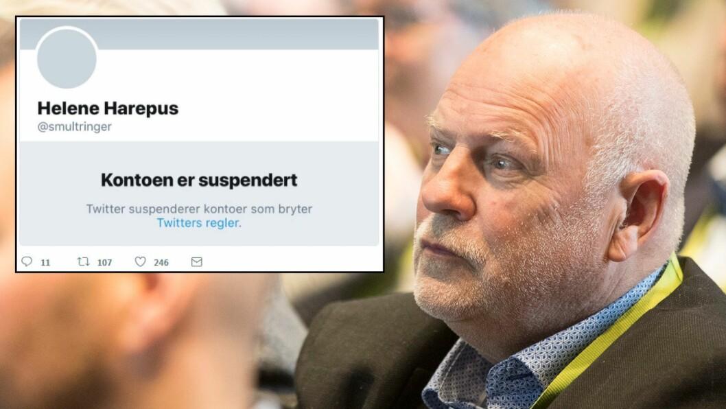 Jan Hanvolds TV-kanal Visjon Norge har fått Twitter-kontoen «Helene Harepus» slettet fra Twitter.