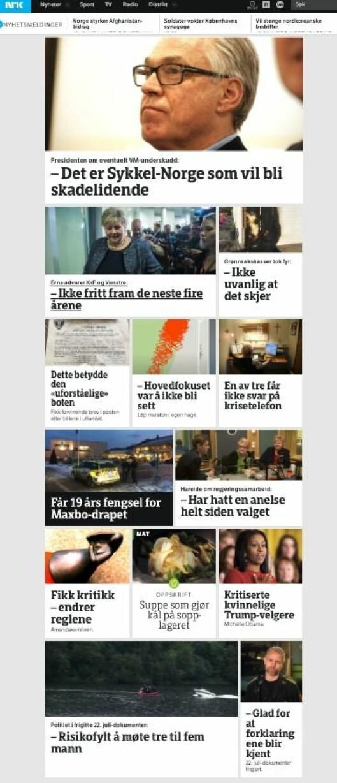 Slik ser NRK.no ut en vanlig torsdag formiddag - altså mer eller mindre som en ren nettavis.