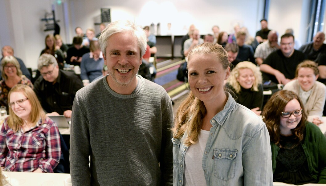 Bård Romstad og Eivor Jerpåsen på frontsjefseminar i Amedia denne uka.