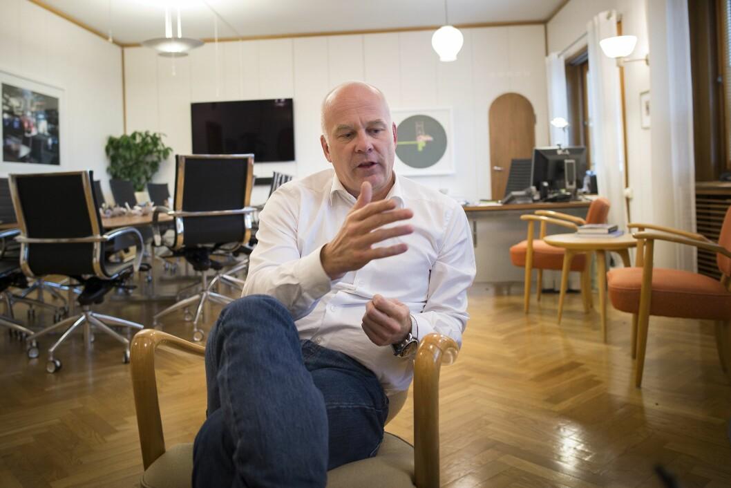 Kringkastingssjef Thor Gjermund Eriksen. Bildet er fra et intervju tidligere i høst, på hans kontor