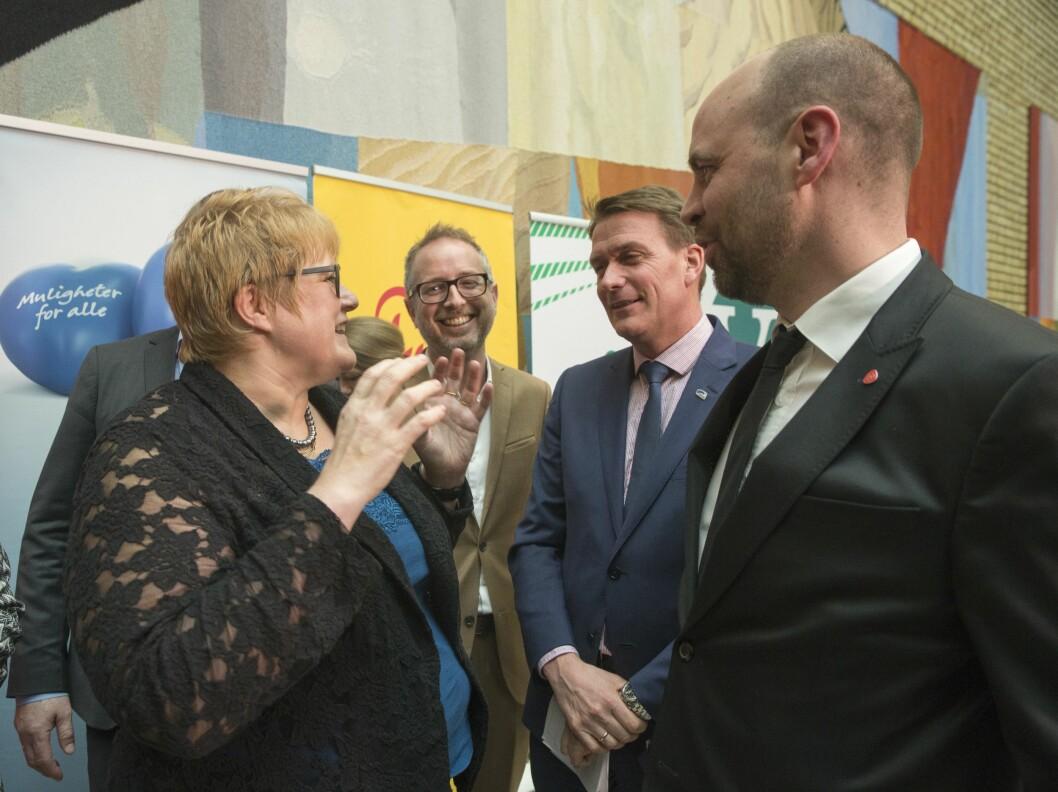 Februar 2016: Kulturkomiteen på Stortinget holdt pressekonferanse om sin innstilling til regjeringens stortingsmelding om allmennkringkasting.Fra venstre: Trine Skei Grande (V), Bård Vegar Solhjell (SV), Kårstein Eidem Løvaas (H) og Arild Grande (Ap).Foto: Terje Bendiksby / NTB scanpix