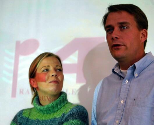 2003: Radiokanalen P4 presenterte programplaner - her ved programlederne Silje Stang og Kårstein Eidem Løvaas.