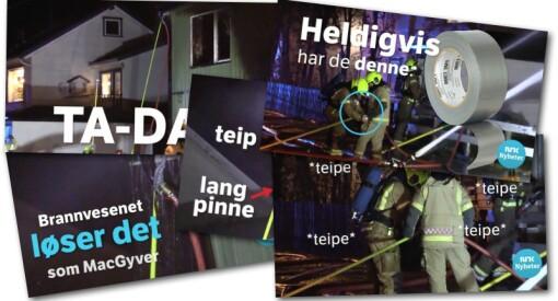 NRK Finnmark brukte tre dager gammel husbrann til humoristisk Facebook-video om gaffateip og brannslanger