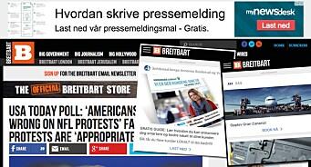 Her er noe av det som møtte oss på høyrevridde Breitbart: Annonser for Schibsted, Mynewsdesk og SAS