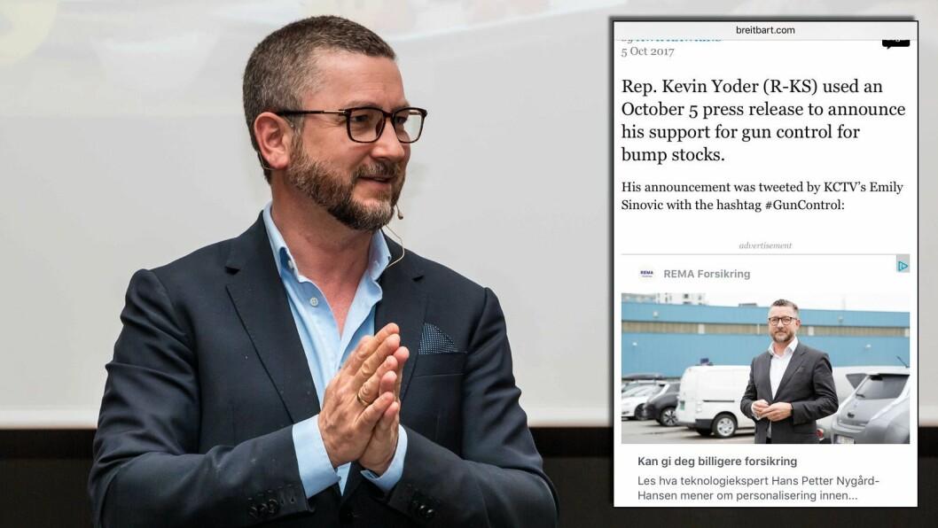 Hans-Petter Nygård-Hansen profilerer Rema Forsikring i VG-annonsen som via Facebook havnet på Breitbart nylig.