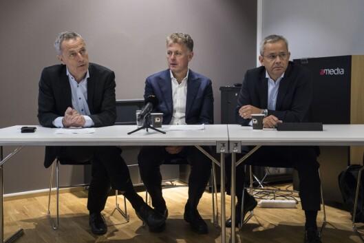 Konserndirektør Are Stokstad i Amedia, sjefredaktør Gunnar Stavrum i Nettavisen og administrerende direktør Espen Asheim i Egmont Publishing.