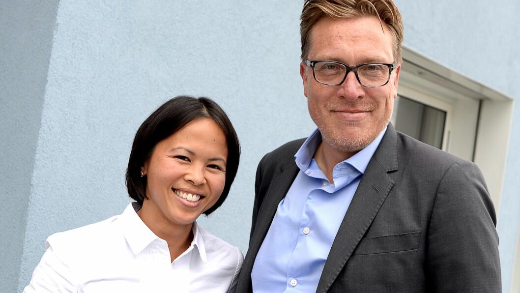 Marknadssjef Janice Gundersen og gründer Tom Roger Sokki. Sokki er ikkje lenger toppsjef i selskapet, men største aksjonær.